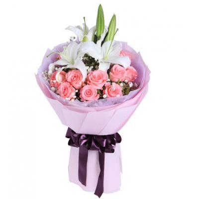 为爱相随----多头百合1枝,黛安娜粉玫瑰11枝