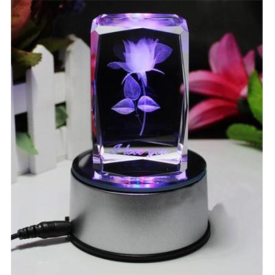 3D水晶内雕玫瑰花----激光内雕水晶工艺品,USB七彩旋转发光