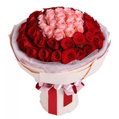 爱在心头/920特惠----玫瑰50枝:戴安娜粉玫瑰19枝,红玫瑰31枝