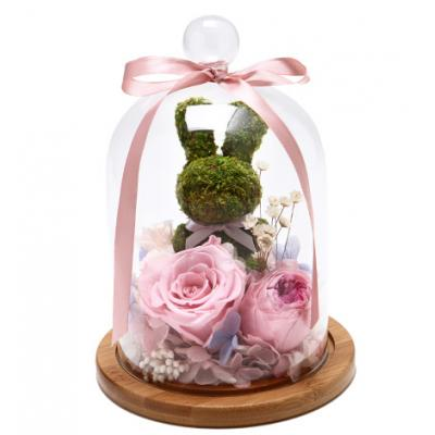 To温暖你心----苔藓小兔+粉色永生玫瑰+粉边紫心奥斯丁